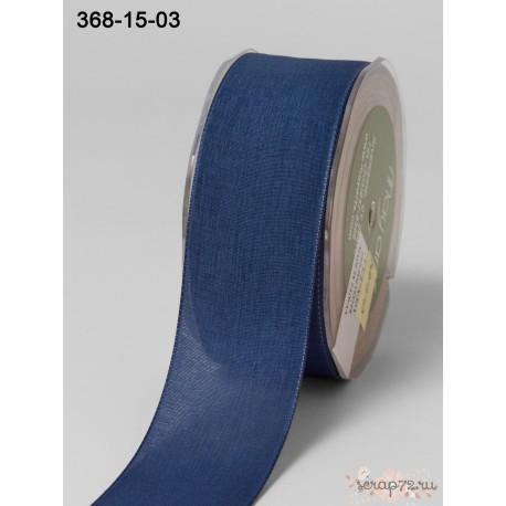 Лента Faux Linen от May Arts, цвет синий, 40мм, 90см