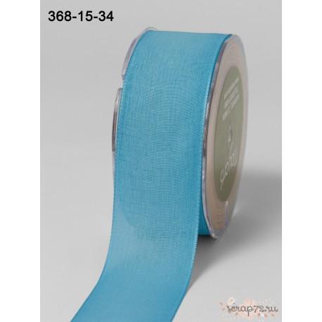 Лента Faux Linen от May Arts, цвет бирюза, 40мм, 90см