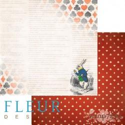"""Лист бумаги для скрапбукинга """"Кролик"""", коллекция """"В стране чудес"""", 30х30, плотность 190 гр, FD1005202"""