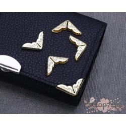 Уголки металлические с ажурным рисунком, золото, 20*14см, 1шт.