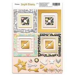 Рамки из чипборда с фольгированием (золото) для скрапбукинга 30шт Simple Flowers от Scrapmir