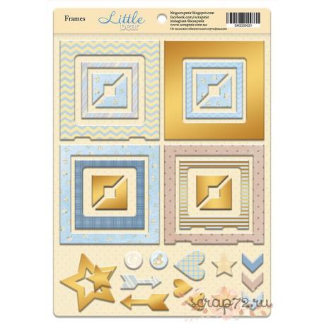 Рамки из чипборда с фольгированием (золото) для скрапбукинга 30шт от Scrapmir Little Bear