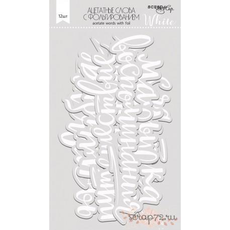Ацетатные высеченные слова c фольгированием (White) 12шт от Scrapmir