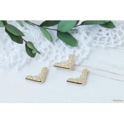 Уголки металлические с ажурным рисунком, золото, 22*16см, 1шт.