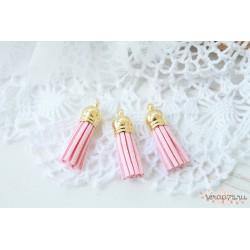Подвеска-кисточки, цвет нежно-розовый, 3.5*1см, 1шт.