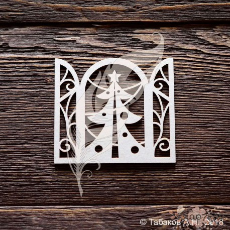 Окно новогоднее с ёлочкой, 6 х 6,6 см