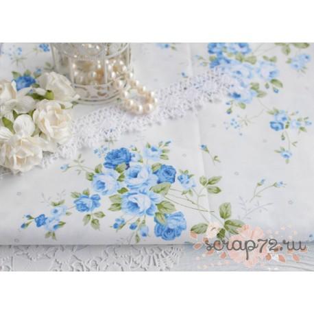 Хлопок Синие розы на белом, 53*50см