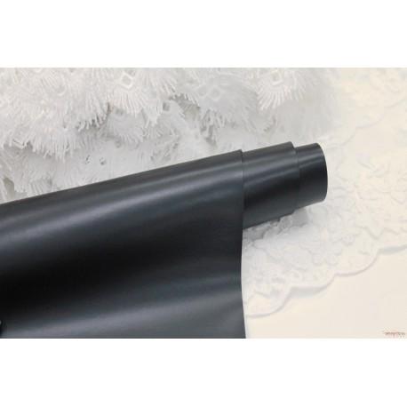 Переплетный кожзам (экокожа) глянцевый, цвет черный (Италия) 33*35см