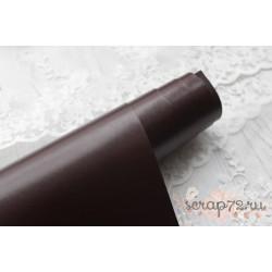 Переплетный кожзам (экокожа) глянцевый, цвет темно-коричневый (Италия) 33*35см
