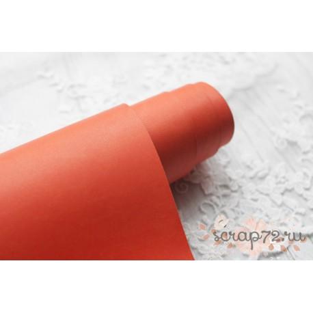 Переплетный кожзам (экокожа) матовый, цвет оранжевый (Италия) 33*35см