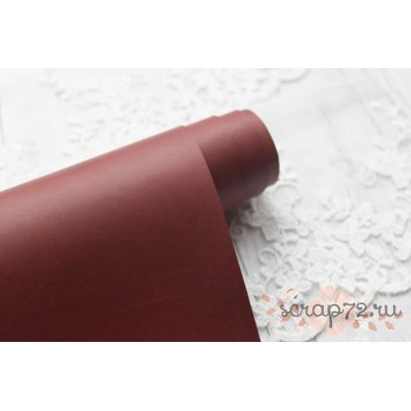 Переплетный кожзам (экокожа) матовый, цвет коричневый (Италия) 33*35см