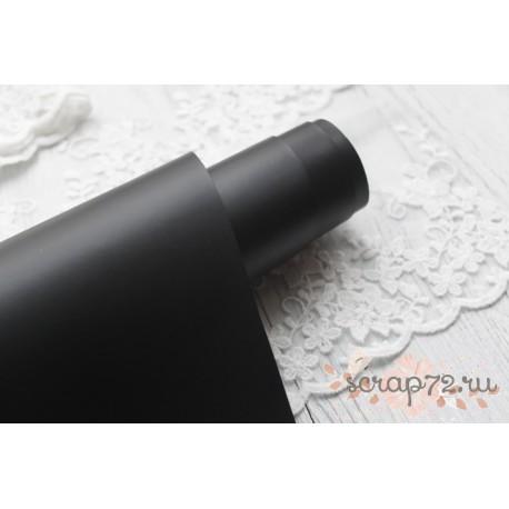 Переплетный кожзам (экокожа) матовый, цвет черный (Италия) 33*35см