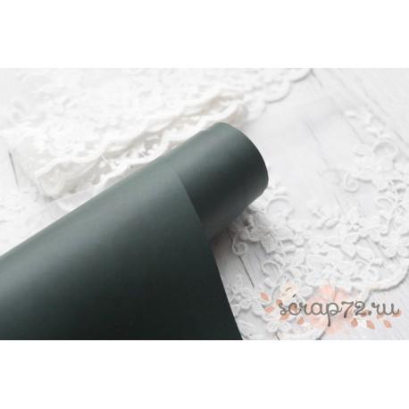 Переплетный кожзам (экокожа) матовый, цвет темно-зеленый (Италия) 33*35см