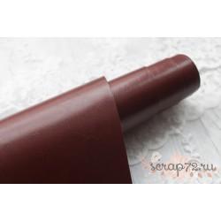 Переплетный кожзам (экокожа) глянцевый, цвет коричневый (Италия) 33*35см