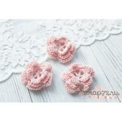 Вязаный цветочек, цвет нежный розовый, 45 мм