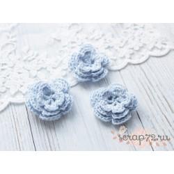 Вязаный цветочек, цвет нежный голубой, 45 мм
