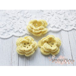 Вязаный цветочек, цвет желтый, 45 мм