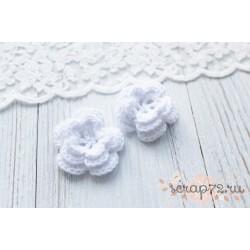 Вязаный цветочек, цвет белый, 45 мм