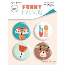 Набор скрап-фишек для скрапбукинга 4шт от Scrapmir Funny Friends
