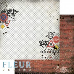 """Лист бумаги для скрапбукинга """"Кирпичная стена"""", коллекция """"Город контрастов"""", 30,5х30,5 см, плотность 190 гр, FD1007904"""
