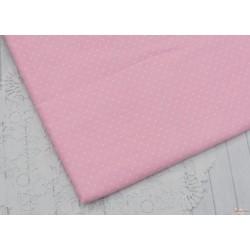 Хлопок Мелкий белый горох на розовом, 53*50см