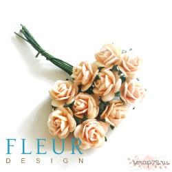 Мини-розочки Нежно-Персиковые, размер цветка 1 см, 10 шт/упаковка FD3072146