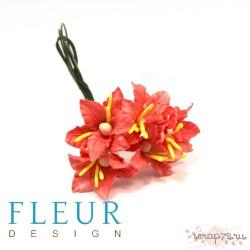 Букетик лилий, пастельный микс, 5см, 5 цветочков разных цветов