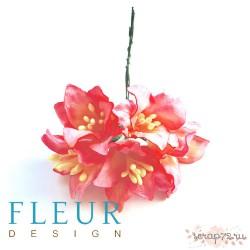 Букетик лилий, пурпурно-лиловые оттенки, 5см, 5 цветочков разных цветов