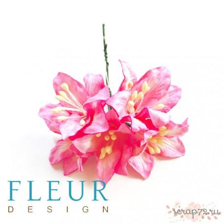 Букетик лилий, кремовые оттенки, 3см, 4 цветочка разных цветов