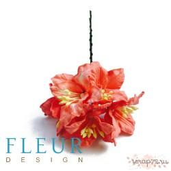 Цветы Лилии нежно-коралловые, размер цветка 3,75 см, 5 шт / упаковка FD3031099