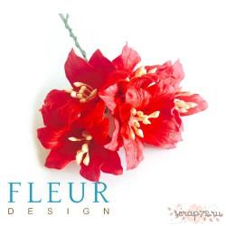 Цветы Лилии красные, размер цветка 3,75 см, 1 цветочек