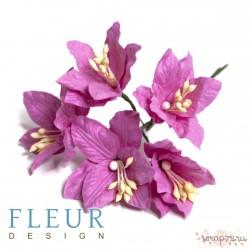 Букетик лилий, розовые тона, 3см, 4 цветочка разных цветов