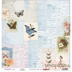 Бумага для скрапбукинга 30,5х30,5 см 190 гр/м односторон Бабочки Красота
