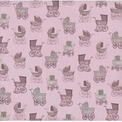 """Бумага для скрапбукинга """"Цветные"""" розовые коляски 30,5х30,5см, 140гр/м2"""