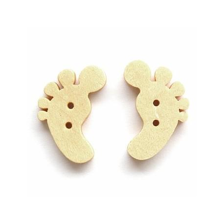 Пуговица деревянная Детская ножка, 15*22мм, 1шт