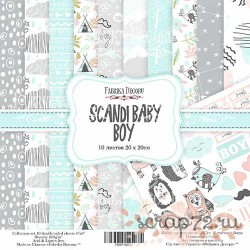 """Набор скрапбумаги """"Scandi Baby Boy"""" 20x20см, 10 листов"""
