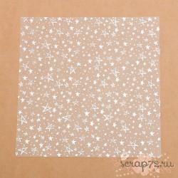 Ацетатный лист с фольгированием «Серебряные звезды», 30,5х30,5см