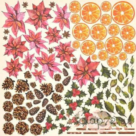 """Лист для вырезания-1 """"Botany winter"""", 30*30см"""