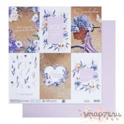 Лист бумаги для скрапбукинга «Лавандовые карточки», 30,5х30,5 см