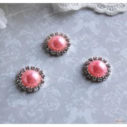 Брошь круглая, ярко розовый жемчуг, обрамленный стразами, 18мм, 1шт