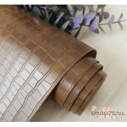 """Переплетный кожзам """"Крокодил"""", коричневый, 30х35см"""