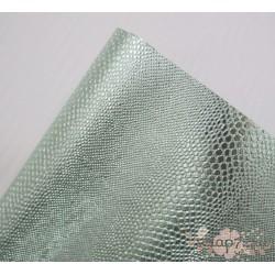 """Кожзам на флизелиновой подложке """"Змея"""", светло-зеленый металлик,  34х35см"""