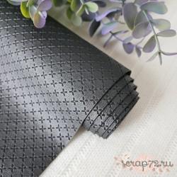 Кожзам на тканевой основе 30х35 см, черный, толщина 1мм