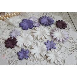 Набор цветочков, фиолетовые тона, от 5см до 2см, 14шт.