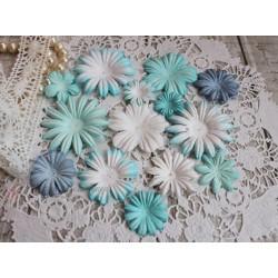 Набор цветочков, голубые тона, от 5см до 2см, 14шт.