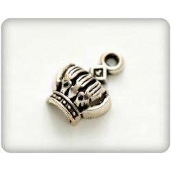 Металлическая подвеска КОРОНА, серебро, 8*11мм, 1шт