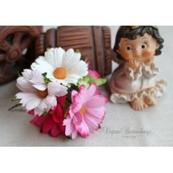 Букетик хризантем, розовые тона, 4.5см, 5шт.