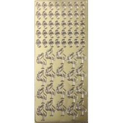 Контурные стикеры АИСТ И СОСКА-ПУСТЫШКА золотые