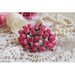 Букет из полуоткрытых бутонов роз, розовый, 1*1см, 5 шт.