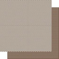 Бумага для скрапбукинга 30*30 см COLOR VIBE BROWN CHEVRON/MINI DOT